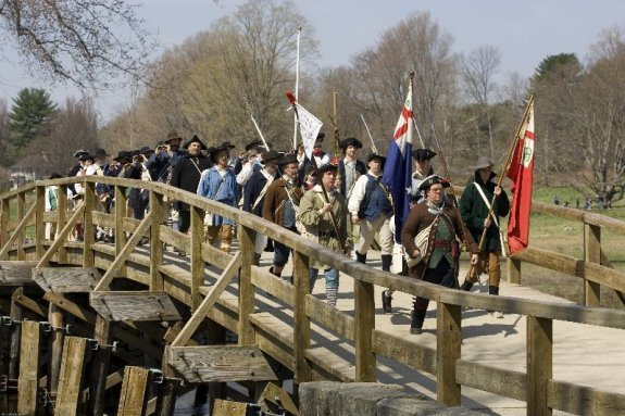 Stow Minutemen reach Concord's North Bridge after the Trail March (2008) (Photo provided by Garrett Conover)